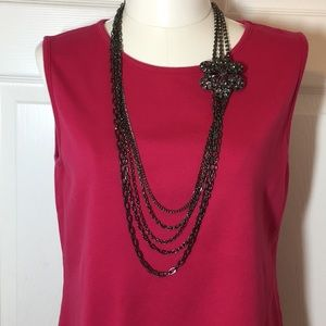 Jewelry - VINTAGE LAYERED NECKLACE WITH LARGE FLOWER!